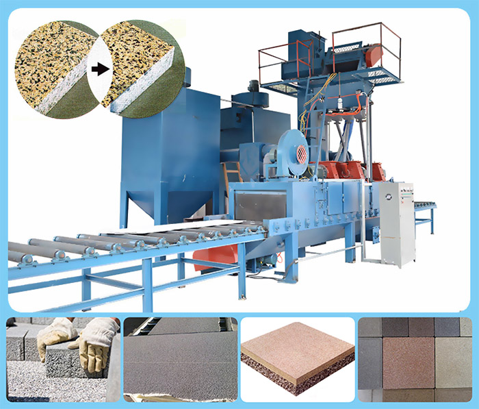 Belt type shot blasting machine for cleaning stone